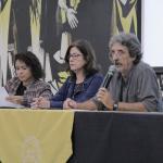 Mesa de abertura: Mônica Araújo (NEPCED), Francisca Maciel (Ceale) e Wagner Auarek (FaE)