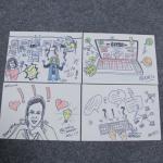 Desenhos feitos por artista ao vivo